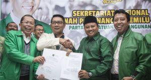 Ridwan Kamil bersama Uu Ruzhanul Ulum resmi didukung 4 partai.