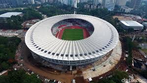 Stadion Utama Gelora Bung Karno tampak dari atas. Bila malam hari cahaya lampunya sangat bagus.