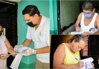 Ayuntamiento de Colima entrega apoyo económico a adultos mayores en su domicilio.