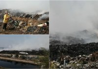 Continúan tratando de contener incendio del relleno sanitario en Tecomán