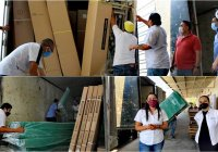 Indira Vizcaíno acude a recibir camas y caretas que envio el gobierno de México para Colima