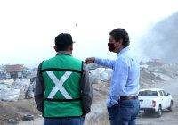 Alcalde Elías Lozano, superviso acciones de mitigacion de humo, en el relleno sanitario de Tecomán