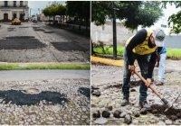 Labores de bacheo y empedrado se realizan diariamente por toda la ciudad.