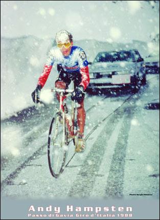 Andy Hampsten al borde del abismo en la dantesca etapa dolomítica de 1988