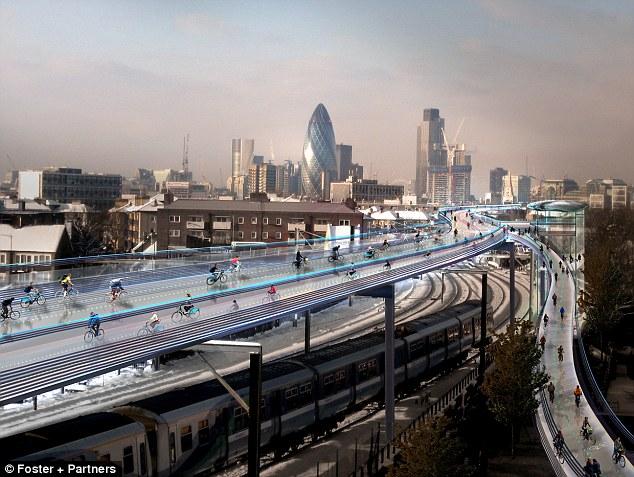 Fotomontaje del SkyCycle de Londres publicado por el estudio arquitectónico de Norman Foster.