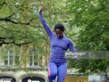 MANCHESTER, ENGLAND - MAY 9: Yarisley Silva of the Cuba celebrates after clearing her pole vault during the Great City Games on May 9, 2015 in Manchester, England. (Photo by Clint Hughes/Getty Images)