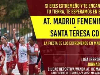 Ven a apoyar al Santa Teresa CD ante el Atlético de Madrid Femenino
