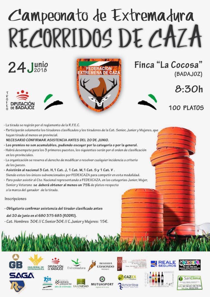 Badajoz acoge el 24 de junio el Campeonato de Extremadura de Recorridos de Caza, clasificatorio para el nacional