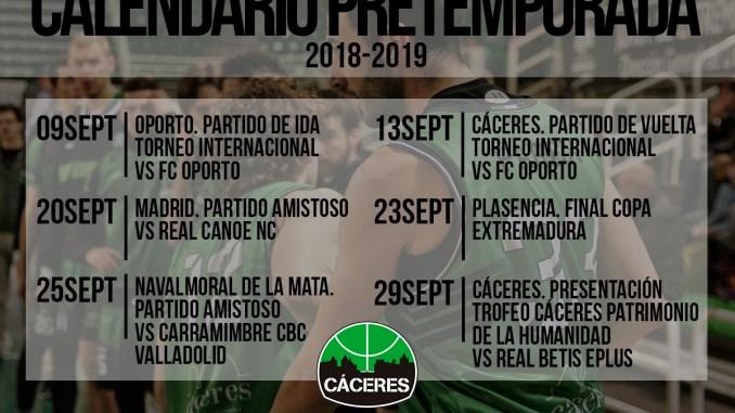 Calendario de pretemporada 2018/19 del Cáceres Ciudad del Baloncesto