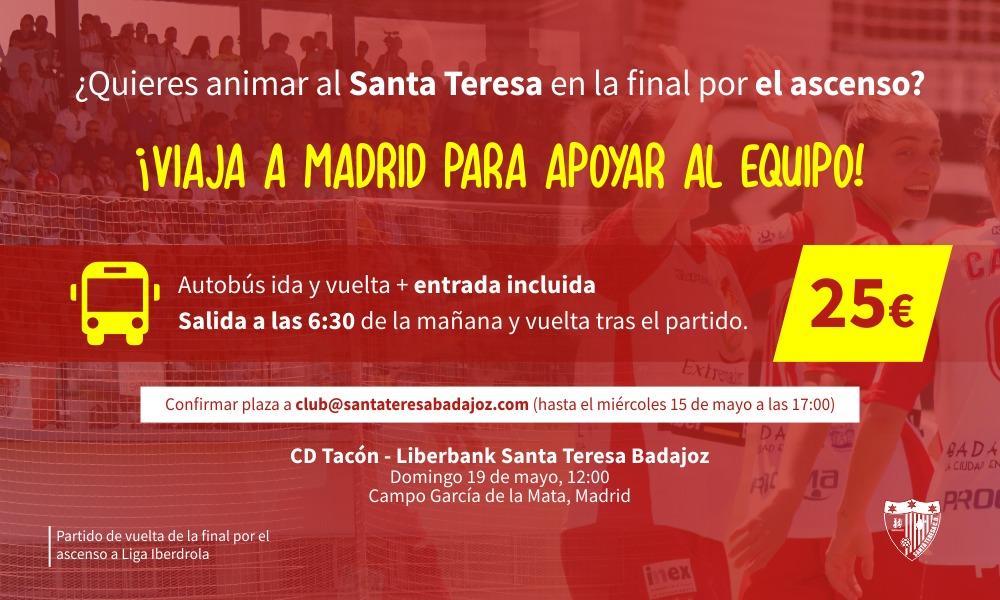 Viaje a Madrid para la afición del Santa Teresa de cara a la final por el ascenso