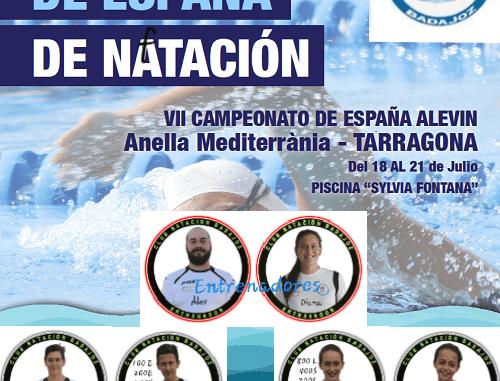 Ocho nadadores del Club Natación Badajoz en el VII Campeonato de España de natación ALEVÍN