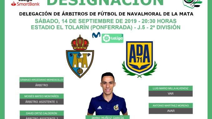 Jayro Muñoz García debutará en 2ª División como cuarto árbitro en el SD Ponferradina VS AD Alcorcón