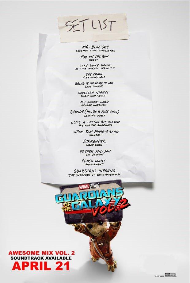 Divulgado a lista de faixas da trilha sonora de Guardiões da Galáxia Vol. 2