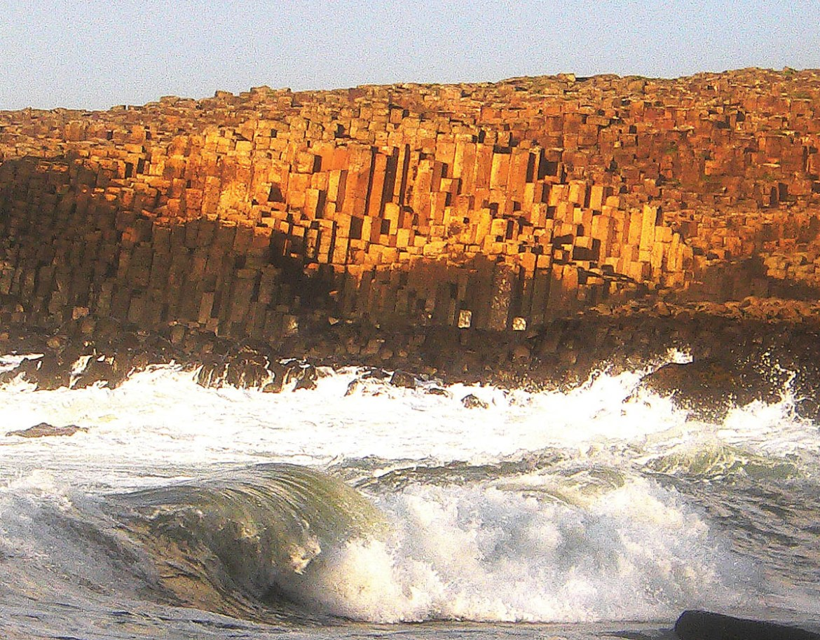 1. Wave and sunset at the Giant's Causeway