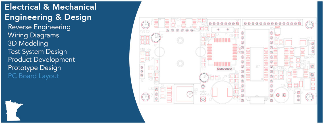 Electrical & Mechanical Engineering & Design Capabilities Graphic - PC Board Layout