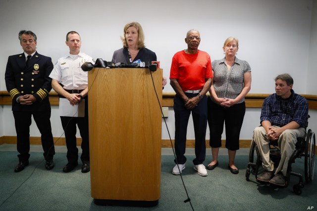 Dayton Mayor Nan Whaley speaks during a news conference regarding a mass shooting earlier in the morning, Aug. 4, 2019, in Dayton, Ohio.