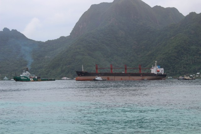 The North Korean cargo ship, Wise Honest, middle, was towed into the Port of Pago Pago, May 11, 2019, in Pago Pago, American Samoa.