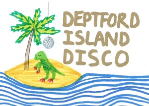 Deptford Island Disco poster featuring a felt-tip pen illustration of a T-Rex stood on an island next to a palm tree, surrounded by waves