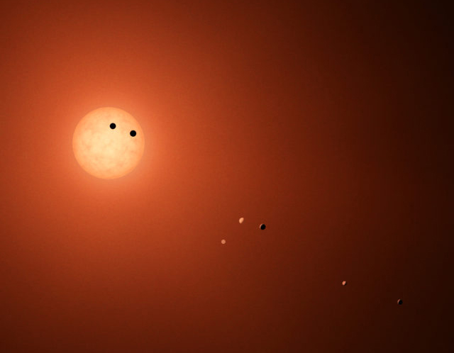 This illustration shows the seven TRAPPIST-1 planets as they might look as viewed from Earth using a fictional, incredibly powerful telescope. The sizes and relative positions are correctly to scale: This is such a tiny planetary system that its sun, TRAPPIST-1, is not much bigger than our planet Jupiter, and all the planets are very close to the size of Earth. Their orbits all fallwell within what, in our solar system, would be the orbital distance of our innermost planet, Mercury. With such small orbits, the TRAPPIST-1 planets complete a year in a matter of a few Earth days: 1.5 for the innermost planet, TRAPPIST-1b, and 20 for the outermost, TRAPPIST-1h.