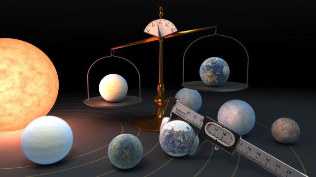 Artist's depiction of the seven TRAPPIST-1 planets, with one being weighed against Earth on a scale and one being measured with calipers. Art by Robert Hurt (NASA/JPL)