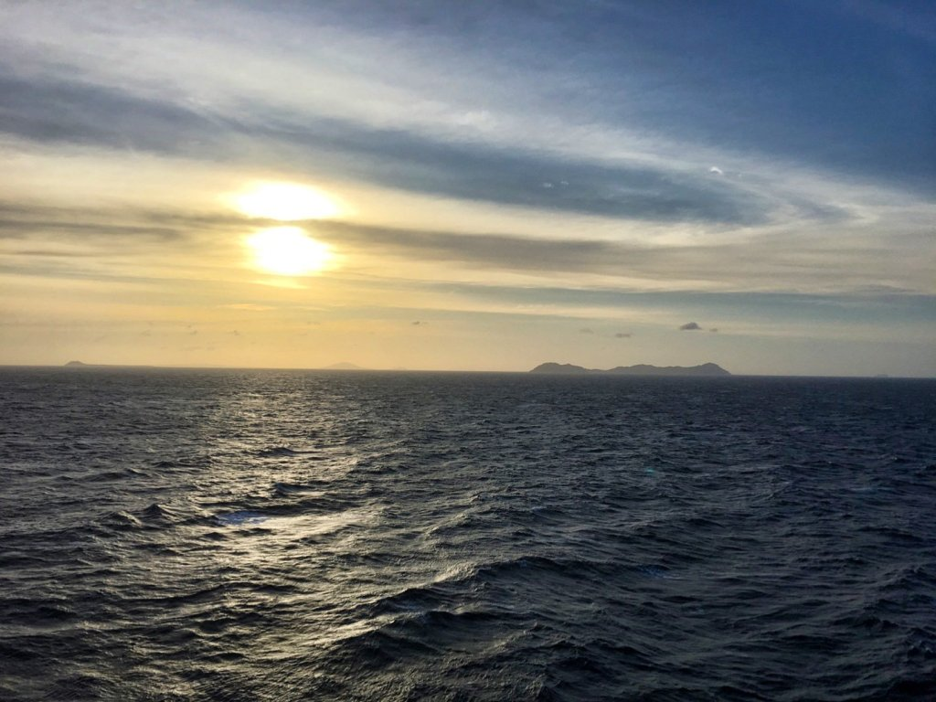Atardecer en el archipielago de Cuyo