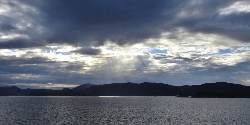 Saliendo del Skovfjord al atardecer