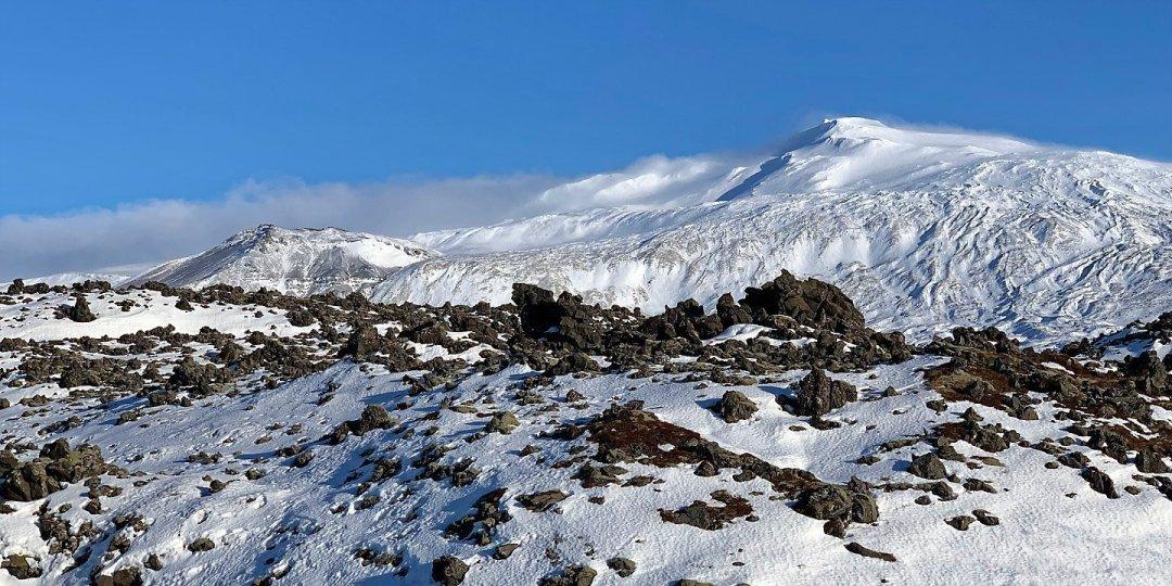 El Snæfellsjökull desde la senda a Djúpalónssandur