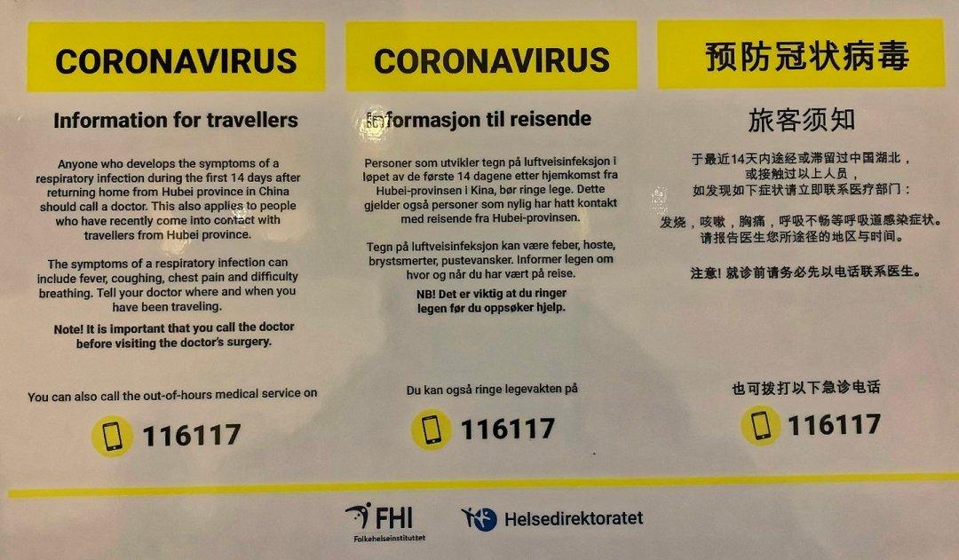 Cartel coronavirus en Noruega