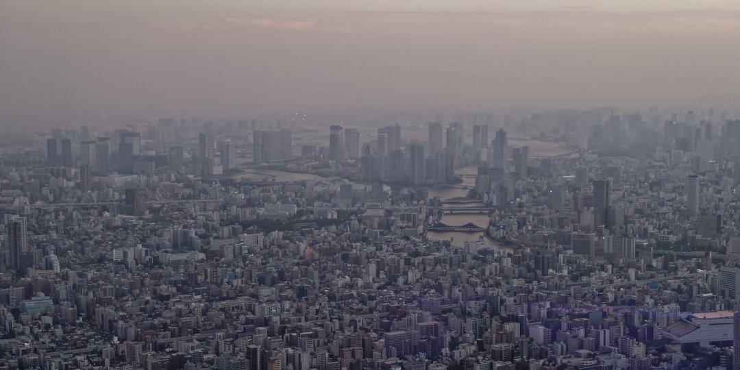 Desembocadura del Sumida desde Tokyo Skytree