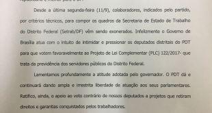 PDT lamenta intimidação aos deputados contrários ao projeto da reforma da previdência
