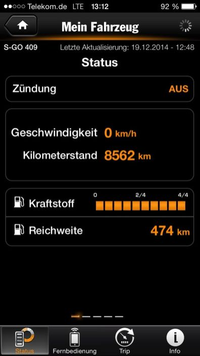 Cayenne S E-Hybrid - iPhone Fahrzeugstatus