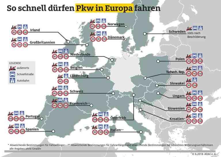 So schnell dürfen Pkw in Europa fahren