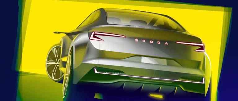 Škoda zeigt erste Skizzen der rein elektrischen Konzeptstudie in Genf