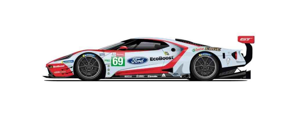 Der Wagen mit der Startnummer 69 greift das Design des damals Zweitplatzierten GT40 auf.