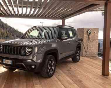 Jeep Renegade 4xe an einer Easy Wallbox von Fiat Chrysler.