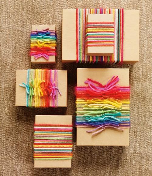DIY Geschenkpapier mit Garnresten