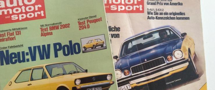 Zwei Ausgaben der Auto Motor und Sport aus den Jahren ´75 und´76