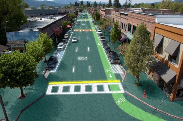 Noch ist es nur eine Animation, aber es könnte Realität werden. Artist's rendition of downtown Sandpoint, Idaho - Home of Solar Roadways Graphic design by Sam Cornett