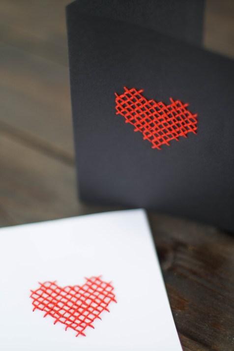 DIY Karte Sticken Valentstag Herz-8