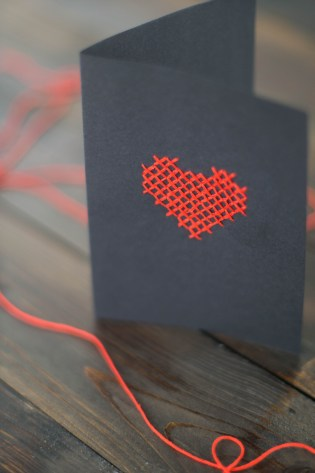 DIY Karte Sticken Valentstag Herz-9