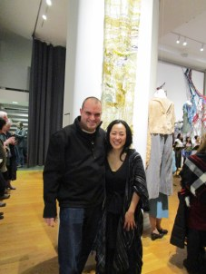 "With artist Nobuko Tsuruta in front of ""Requiem."""