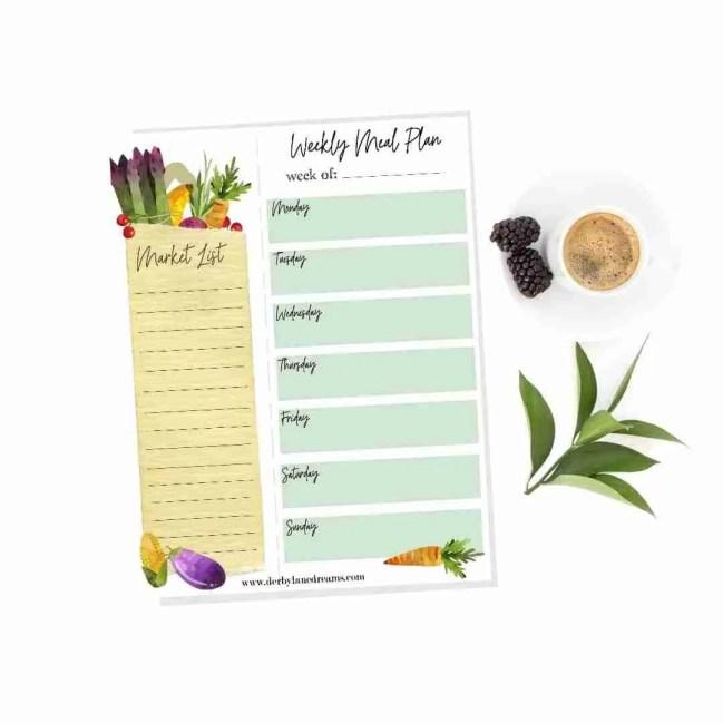 free printable market list grocery list meal plan meal planner free stuff