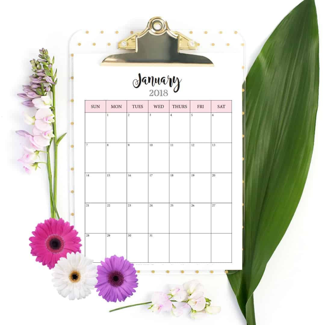 free monthly calendar for 2018