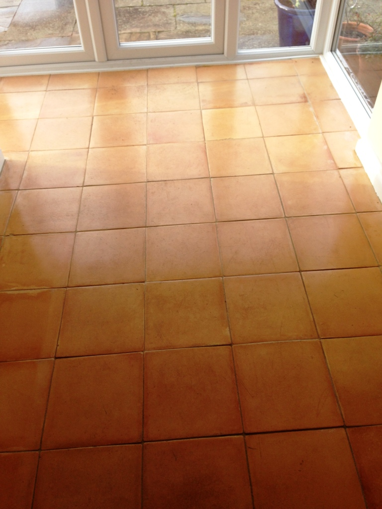 Terracotta Floor Before Cleaning and Sealing in Matlock