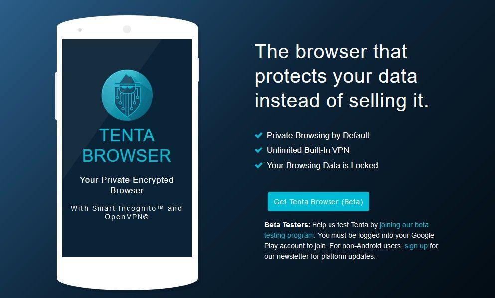 Tenta, el navegador construido desde cero para mantener la privacidad.