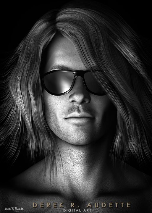 Photo-realistic Illustration of Man in Sunglasses