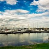 Sail Boats Harbored at Marina