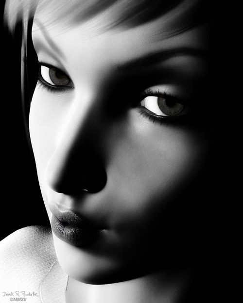 Black and White Digital Female Portrait