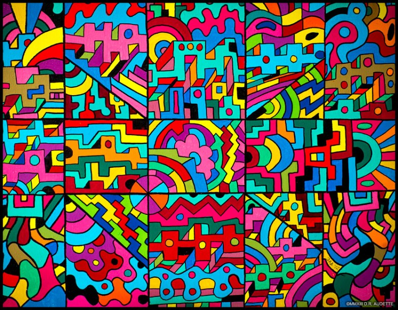 """10+(4 X2)"" by Derek R. Audette (2013) - Acrylic & ink on canvas."