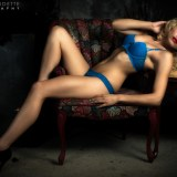 Beautiful Blonde Woman in Blue Lace Lingerie